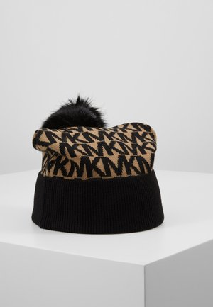 ALLOVER POM BEANIE - Huer - dark camel/black