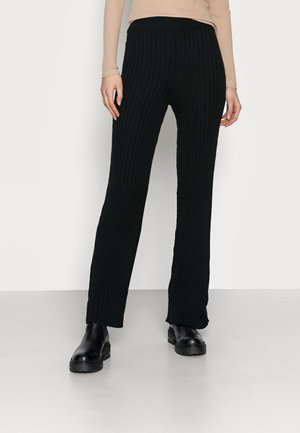 WIDE LEG TROUSER - Kangashousut - black