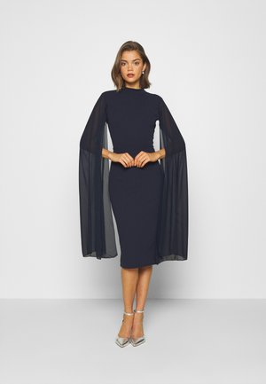 CAPE SLEEVE DRESS - Vestido de cóctel - navy blue