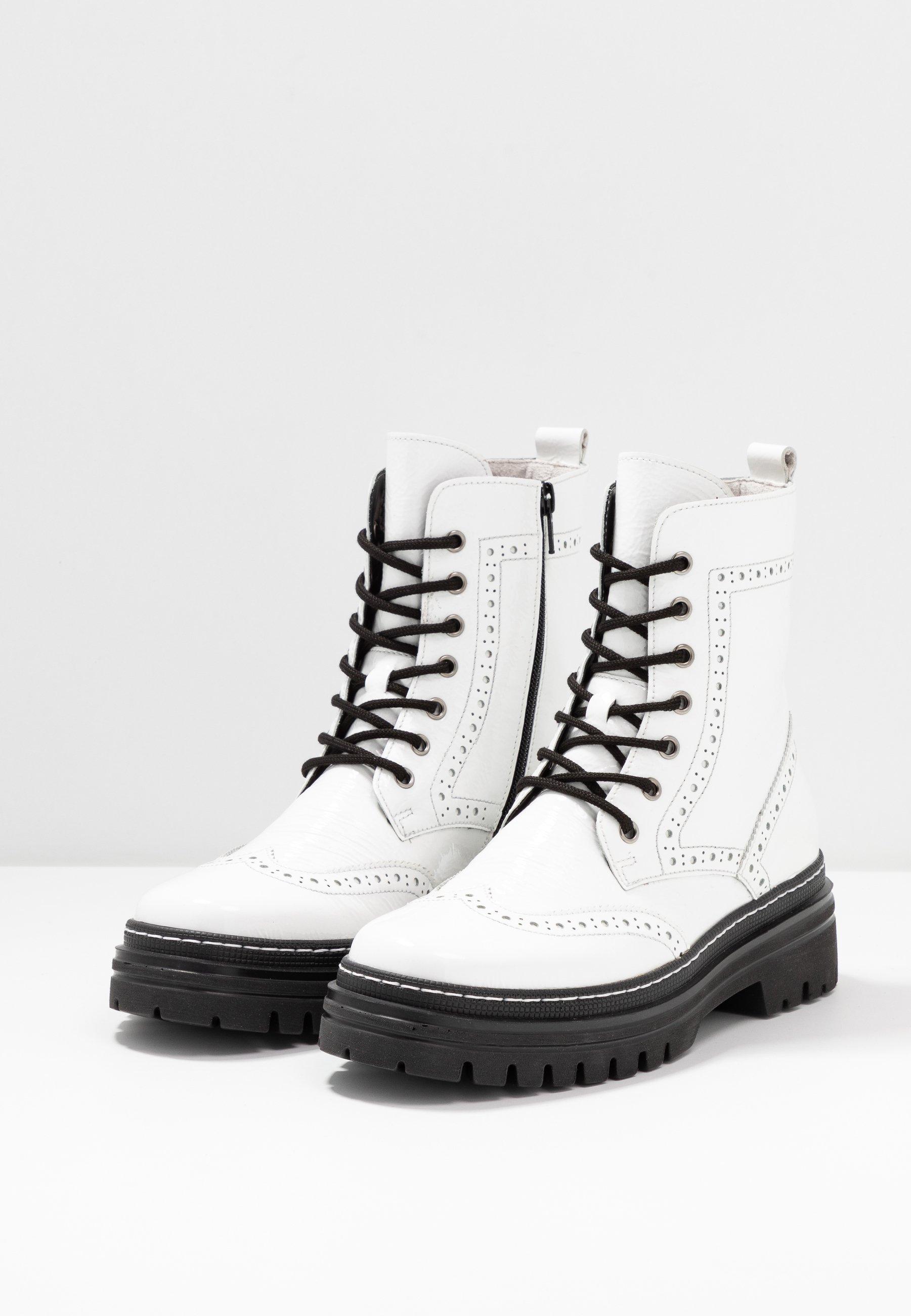 Gabor Plateaustiefelette weiß/schwarz/weiß