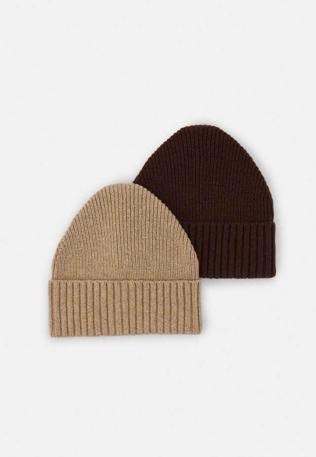 2 PACK UNISEX - Beanie - brown/camel