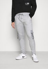 Brave Soul - CHELSEA - Pantaloni sportivi - grey marl/jet black - 0