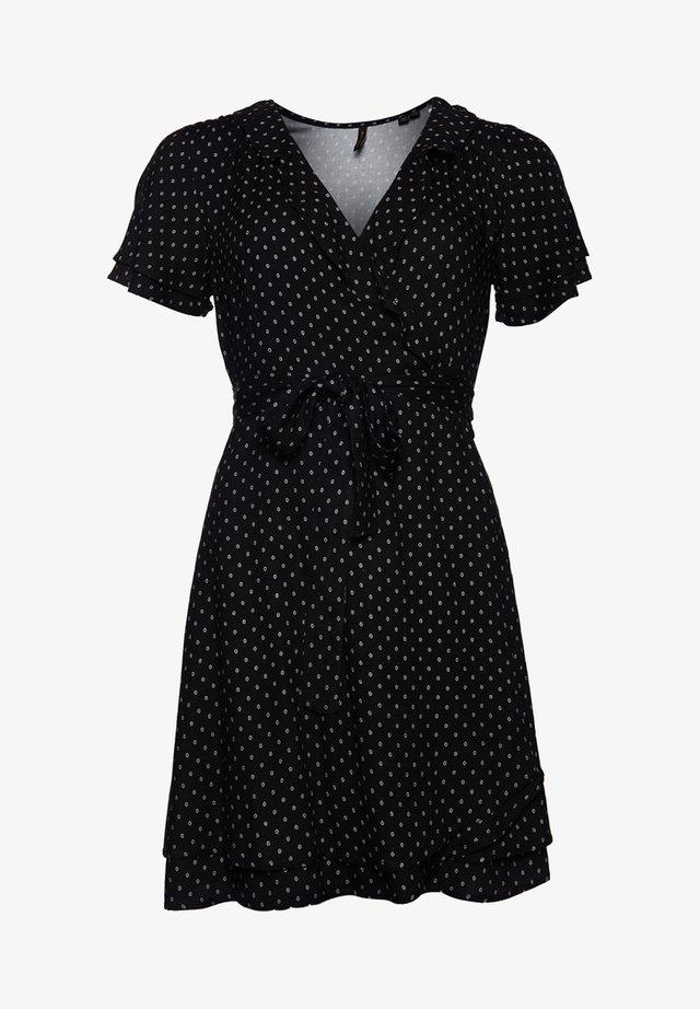 Korte jurk - black 70s geo