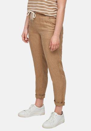 REGULAR FIT - Trousers - dark beige melange
