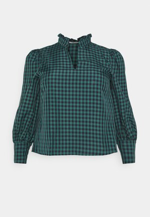 GATHERED BLOUSE WITH PUFF LONG SLEEVES AND PLUNGING NECKL - Blouse - green