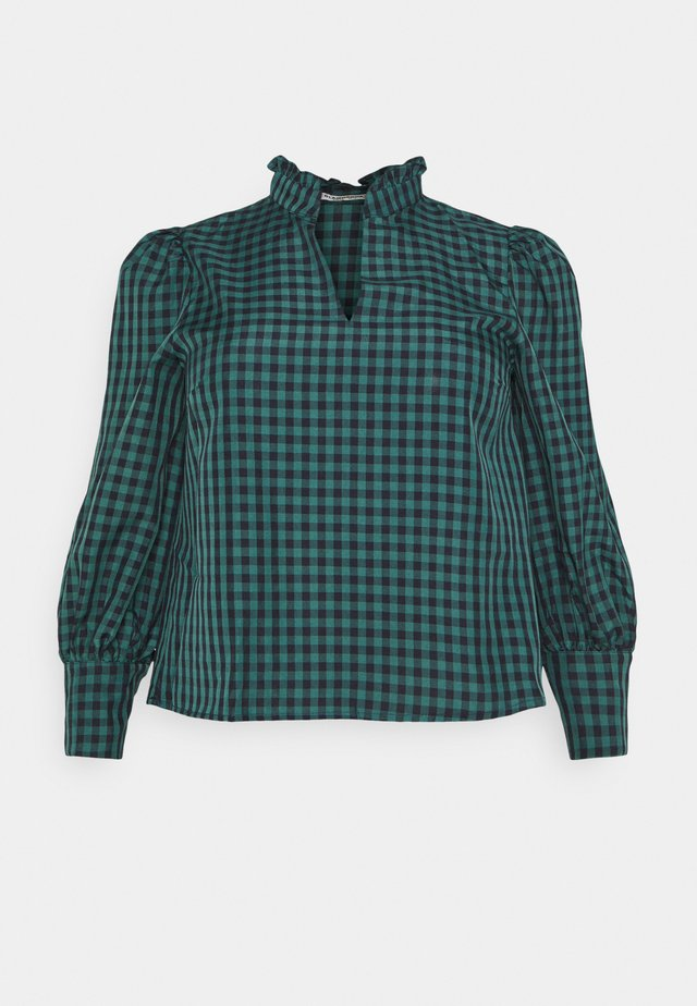 GATHERED BLOUSE WITH PUFF LONG SLEEVES AND PLUNGING NECKL - Camicetta - green