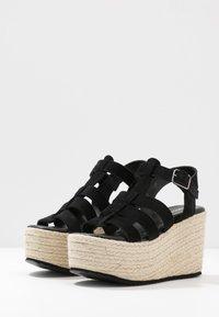 Even&Odd - WEDGE  LEATHER - High heeled sandals - black - 4