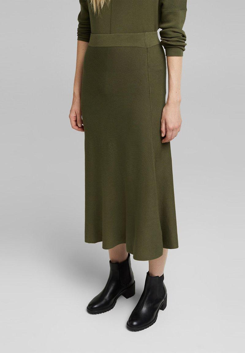 Esprit Collection - A-line skirt - khaki green