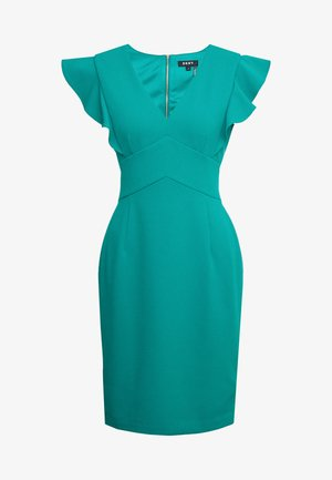 RUFFLE CAP SLEEVE SHEATH - Sukienka etui - emerald