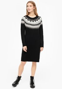 s.Oliver - MIT NORWEGERMUSTER - Jumper dress - black - 1