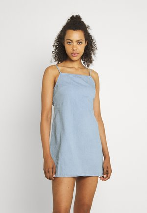 ZAATAR TIE BACK SLIP - Denim dress - chambray blue