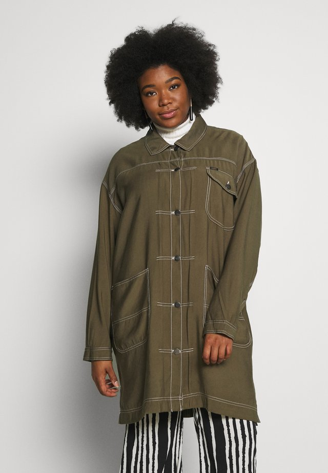 ELONGATED DUSTER COAT - Manteau court - olive green