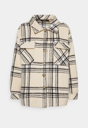 PETITEOVERSIZED CHECK SHACKET - Kort kåpe / frakk - ecru