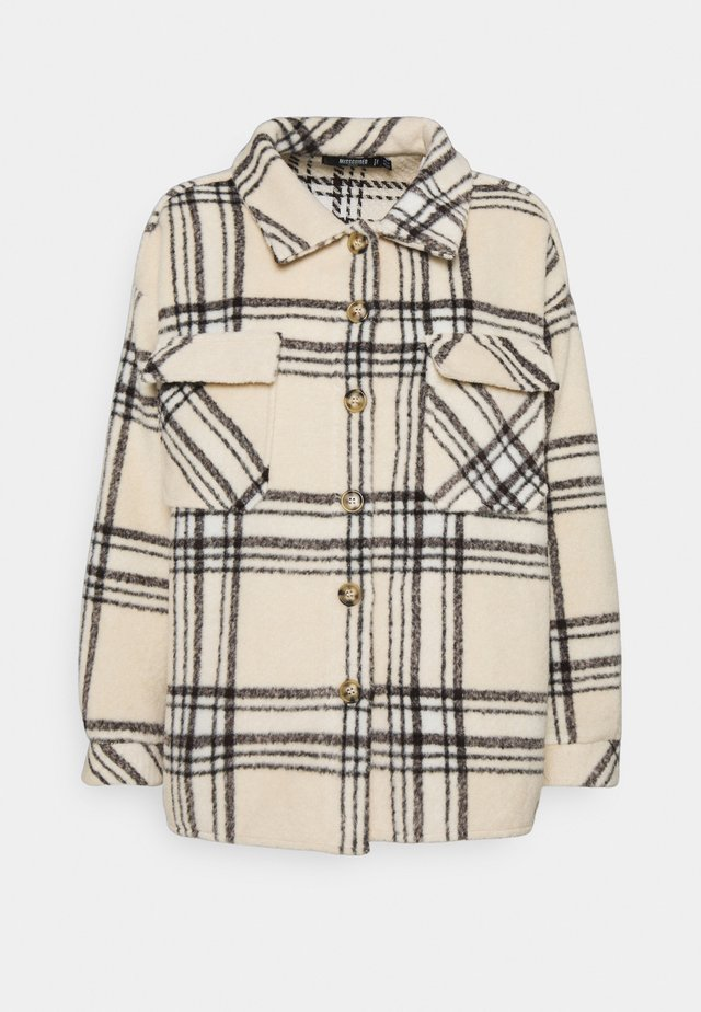 PETITEOVERSIZED CHECK SHACKET - Short coat - ecru