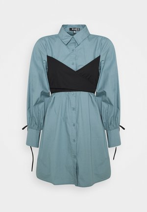 TIE WRAP DETAIL DRESS - Skjortklänning - baby blue