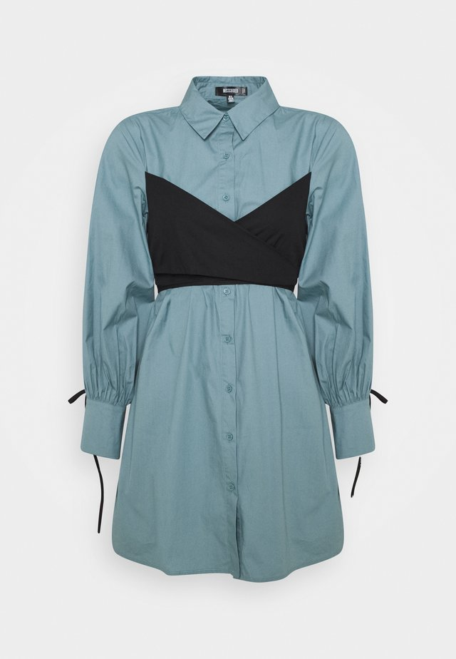 TIE WRAP DETAIL DRESS - Shirt dress - baby blue