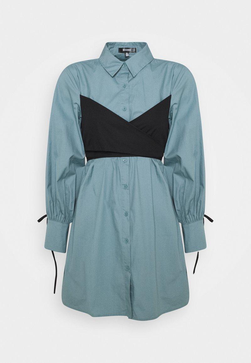 Missguided - TIE WRAP DETAIL DRESS - Košilové šaty - baby blue
