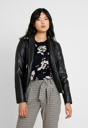 COLLARLESS JACKET - Faux leather jacket - black