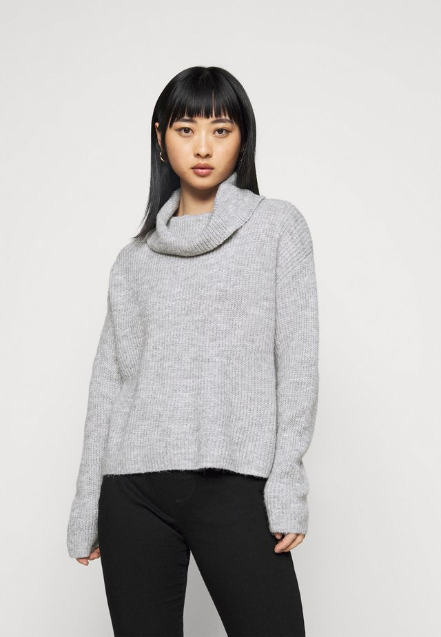 OVERSIZED ROLL NECK  - Jumper - mottled light grey