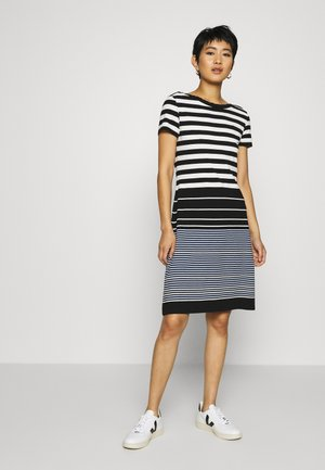 DRESS STRIPED - Jersey dress - black/white