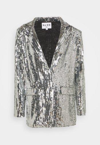 OVERSIZED SEQUIN - Short coat - silver