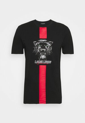 STRIPE ANIMAL TEE - Print T-shirt - black