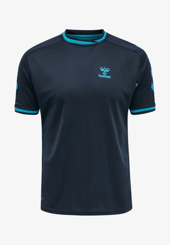 T-shirt med print - black iris atomic blue