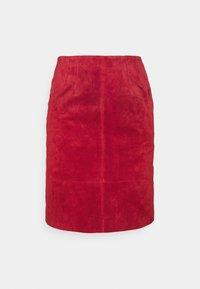 VIFAITH NEW SKIRT - Leather skirt - red dahlia
