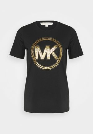 T-shirt print - black/antique brass