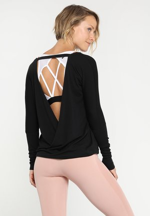 DRAPEY V BACK - Long sleeved top - black