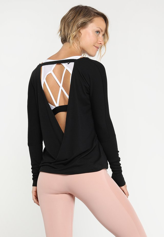 DRAPEY BACK - T-shirt à manches longues - black