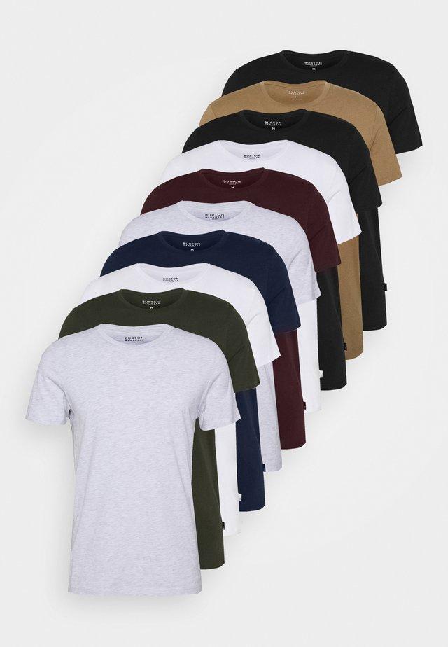 SHORT SLEEVE CREW 10 PACK - T-shirt basique - black/white/indigo