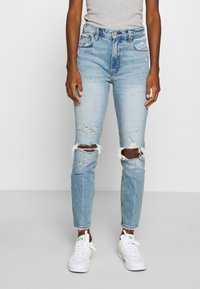 Abercrombie & Fitch - KNEE DESTROYED - Jeans Skinny Fit - destroyed denim - 0