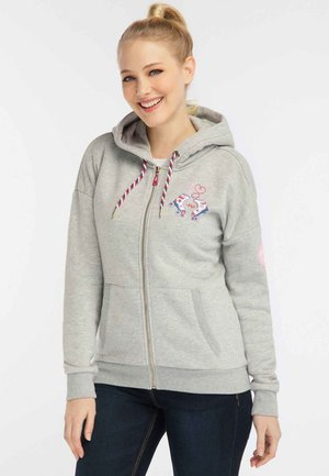 Mikina na zip - light grey  melange