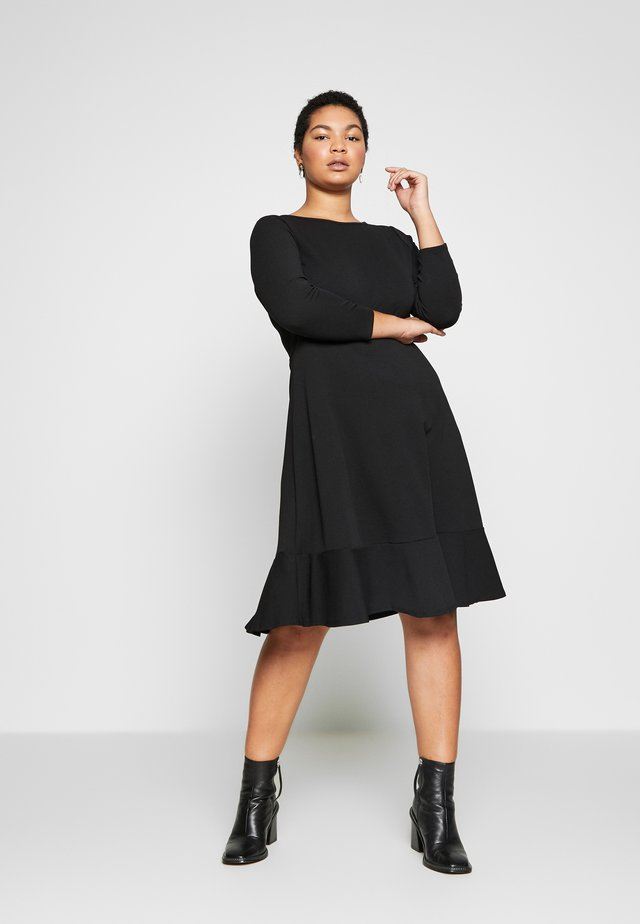 BLACK FRILL HEM DRESS - Vestido informal - black