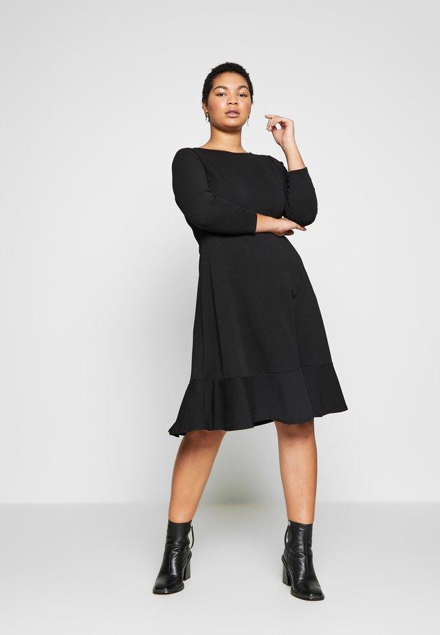 BLACK FRILL HEM DRESS - Denní šaty - black
