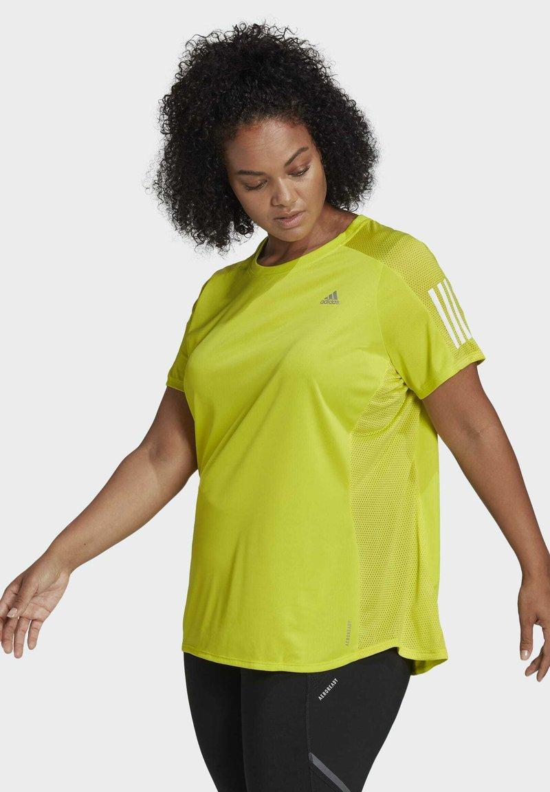 adidas Performance - OWN THE RUN PRIMEGREEN RUNNING - Print T-shirt - Yellow