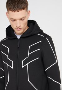 Neil Barrett BLACKBARRETT - ROBOT LINES OPEN FRONTED - Zip-up hoodie - black/white - 5