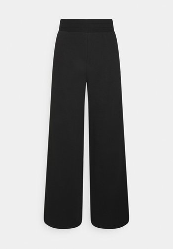 EMBROIDERED WIDE PANTS - Tracksuit bottoms - black