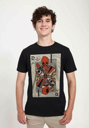 MARVEL DEADPOOL PLAYING CARD  - T-shirts print - black