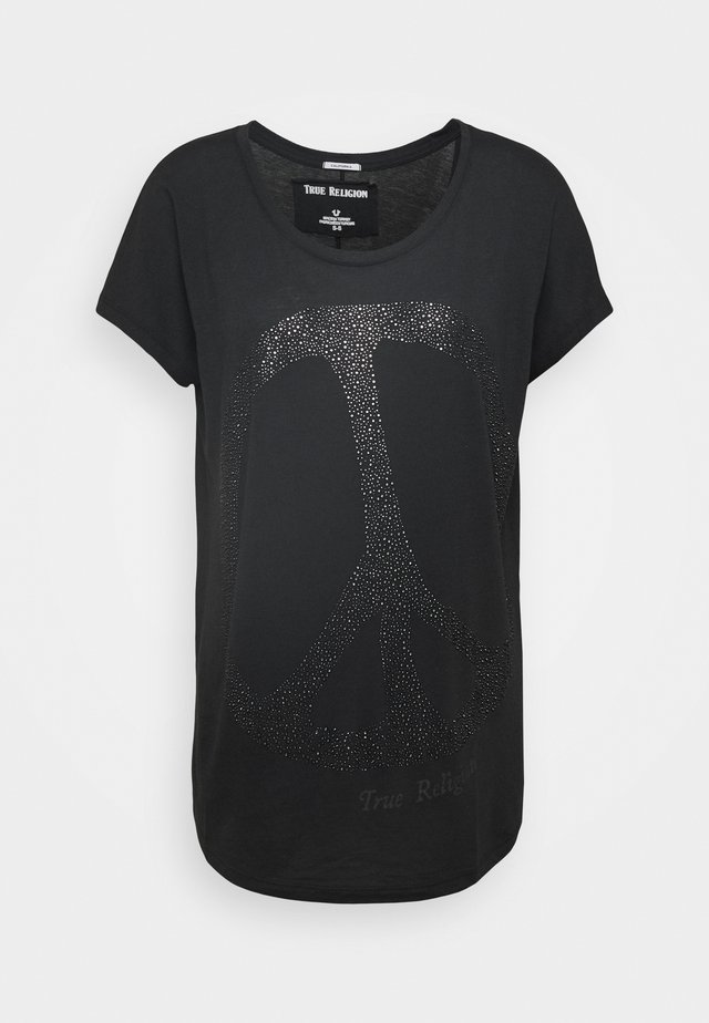 WIDE CREW PEACE BLACK - Print T-shirt - black
