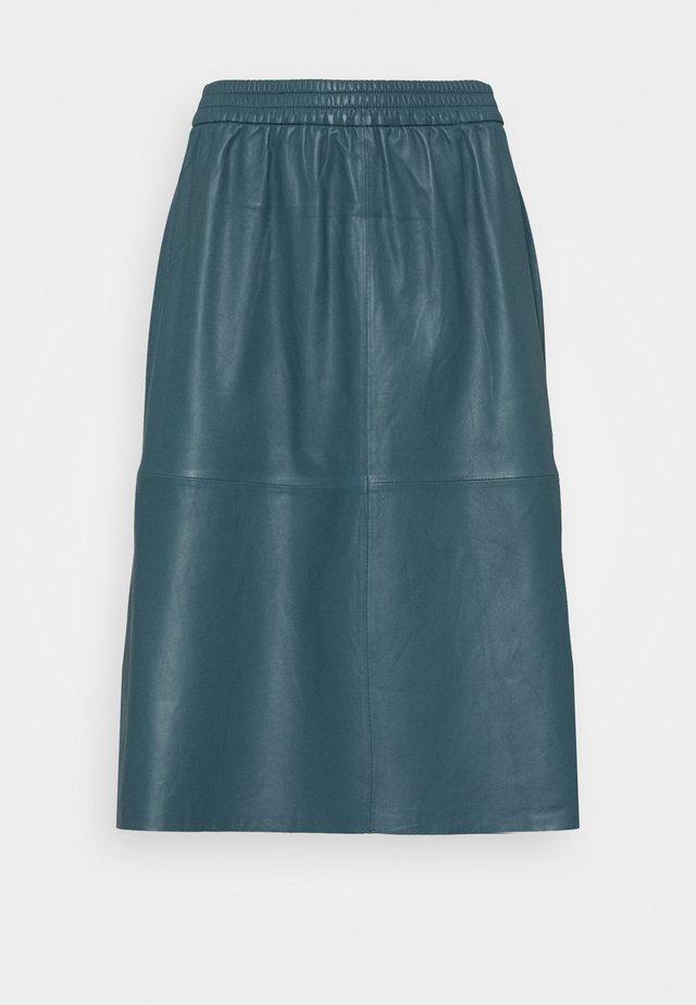 LARKAS - Leather skirt - china blue