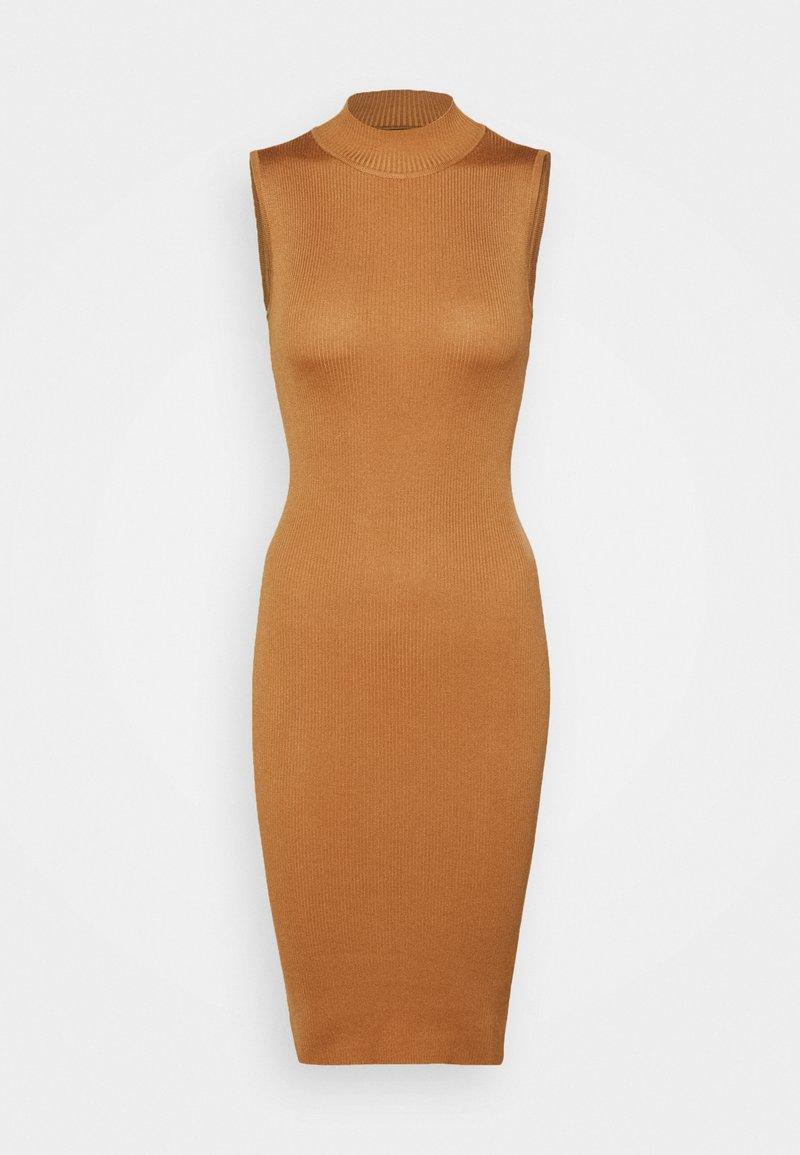 Missguided Petite - HIGH NECK BACKLESS MIDI DRESS - Jumper dress - tan