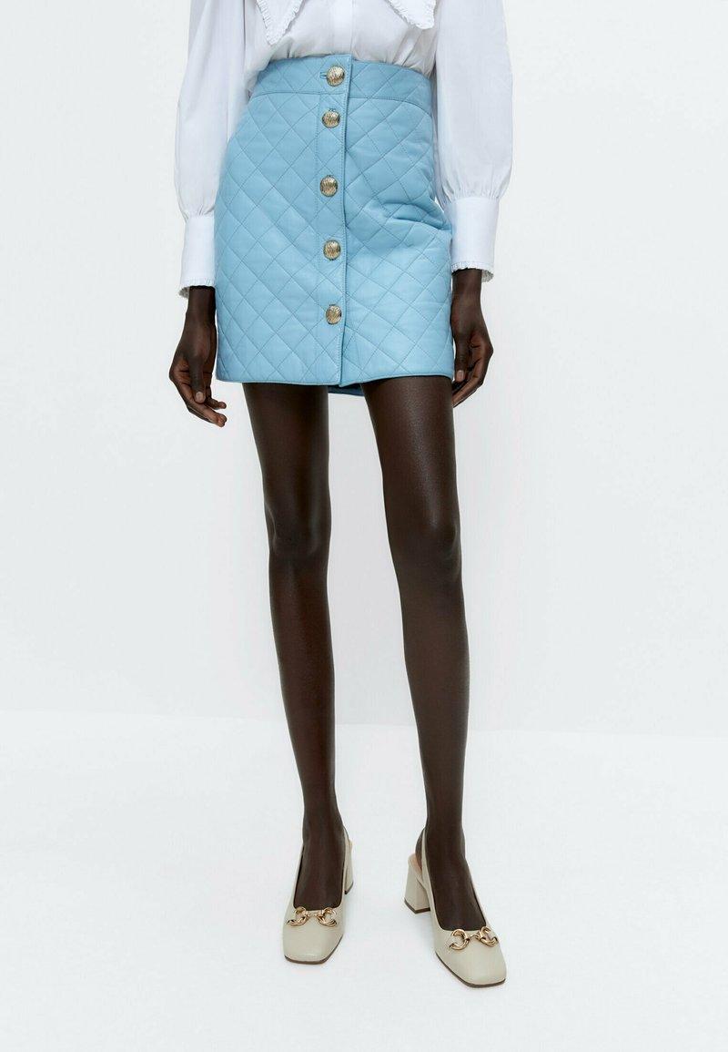 Uterqüe - A-line skirt - light blue