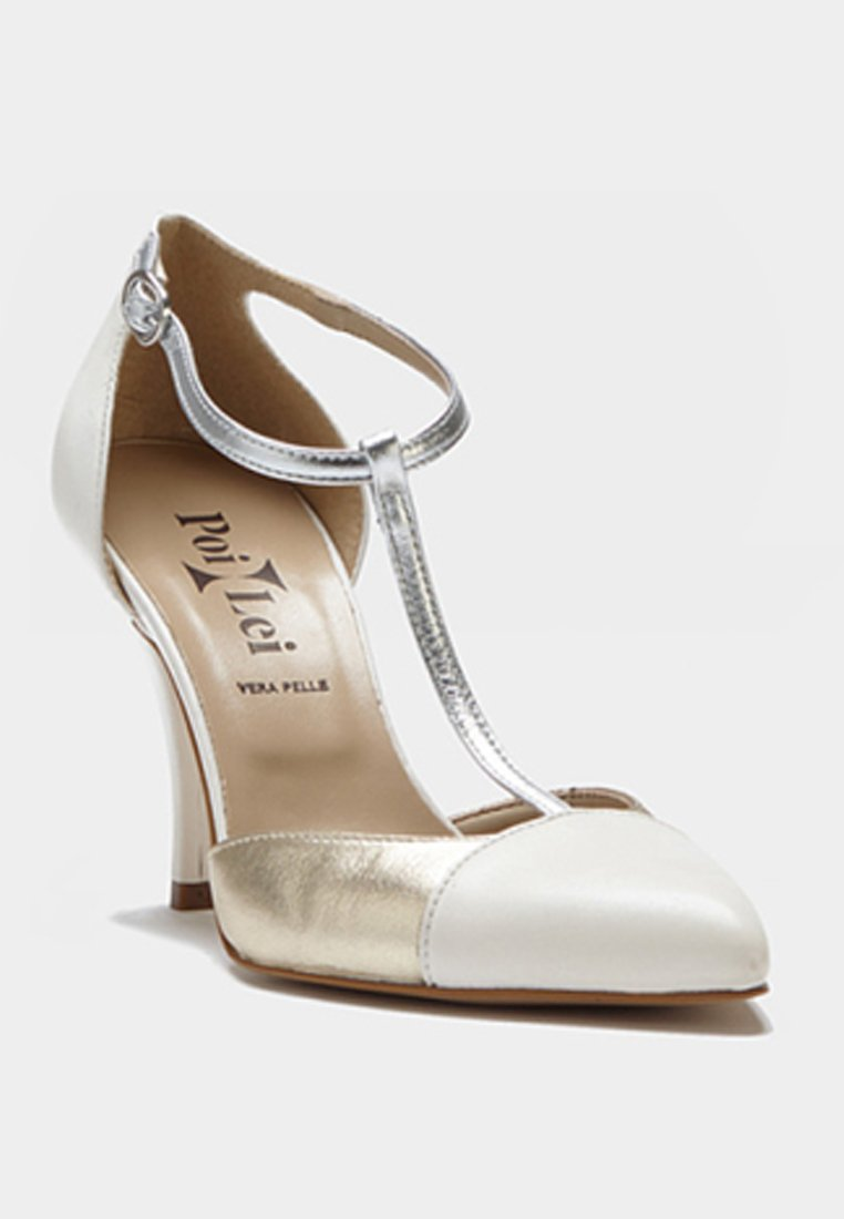 Poilei Paloma - Højhælede Pumps Silver/off-white/gold