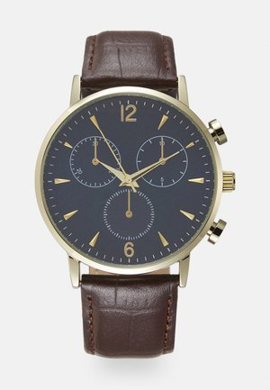 LEATHER - Reloj - dark brown/blue