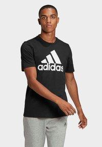 adidas Performance - ESSENTIALS BIG LOGO T-SHIRT - Print T-shirt - black - 0