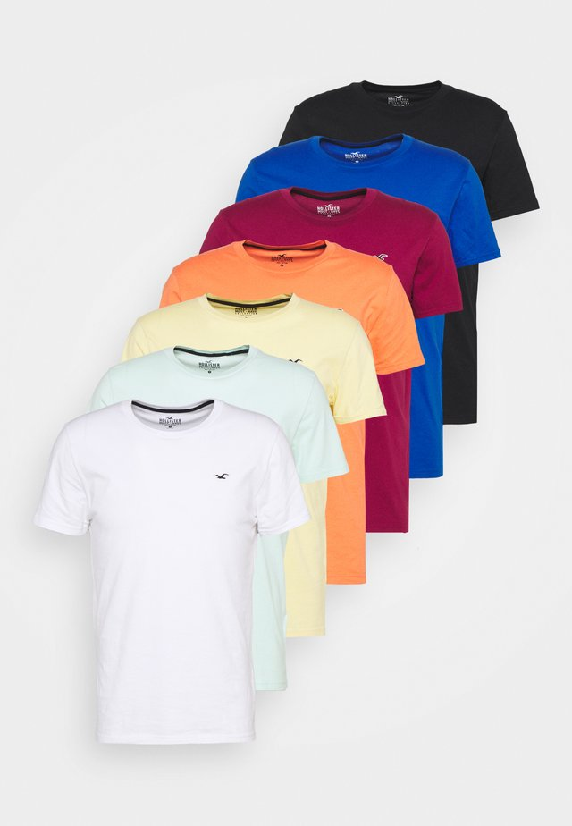 7 Pack - T-shirt - bas - white/soft red/orange/yellow/turquise/blue