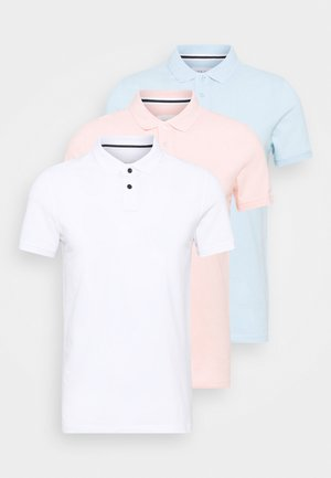 3 PACK - Polo shirt - white/light blue/pink