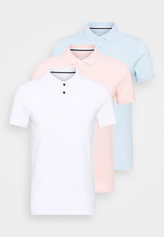 3 PACK - Poloshirt - white/light blue/pink